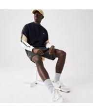 Lacoste Men's Crew Neck Lettered Colorblock Sleeved Fleece Sweatshirt - SH6889 00 ZEL