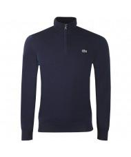 Lacoste Men's Cotton 1/4 Zip Cotton Sweater In Navy Blue - AH1980 00 166