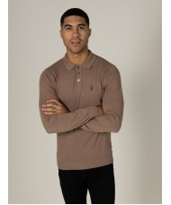 Luke Magnesium Long Sleeved Knitted Polo Shirt In Mushroom - ZM450616