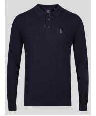 Luke Magnesium Long Sleeved Knitted Polo Shirt In Navy - ZM450616