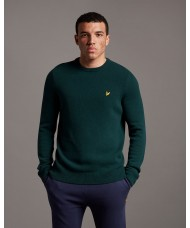 Lyle & Scott Crew Neck Lambswool Blend Sweater In Dark Green - KN921VF