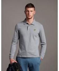 Lyle & Scott Long Sleeve Polo Shirt In Mid Grey Marl - SP400VOG
