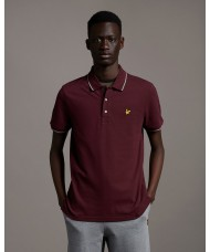 Lyle & Scott Tipped Polo Shirt In Burgundy - SP1524VOG