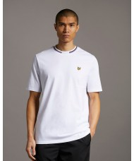 Lyle & Scott Double Tipped Crew Neck T Shirt In White - TS1518V