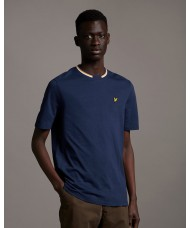 Lyle & Scott Double Tipped Crew Neck T Shirt In Navy Blue  - TS1518V