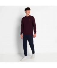Lyle & Scott Crew Neck Lambswool Blend Sweater In Burgundy Marl - KN921VF