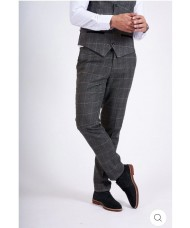 Marc Darcy 'Scott' Grey Tweed Check Trousers