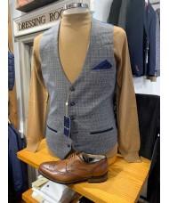 "Marc Darcy ""Hardwick"" Single Breasted Navy Tan Tweed Check Waistcoat"