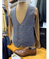 "Marc Darcy ""Jenson"" Double Breasted  Grey & Tan Check Waistcoat"