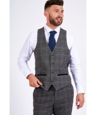 "Marc Darcy ""Scott"" Grey Tweed Check Waistcoat"