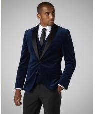 Remus Uomo Slim Fit Velvet Jacket In Navy Blue 4_11850_28