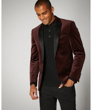 Remus Uomo Slim Fit Velvet Jacket In Burgundy 4_11850_68