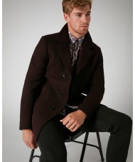 Remus Uomo Tapered fit, Wool-Rich Overcoat In Burgundy - 4_90077_68
