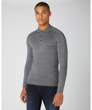 Remus Uomo Slim Fit Merino Wool-Blend Long Sleeve Knitted Polo In Grey