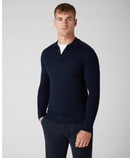 Remus Uomo Slim Fit Merino Wool-Blend Long Sleeve Knitted Polo In Navy Blue