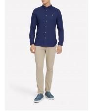 Lyle & Scott Long Sleeve Poplin Shirt In Navy Blue - Slim Fit -  LW815V