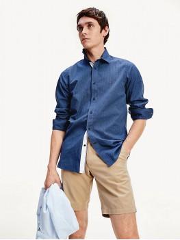 Tommy Hilfiger Geometric Print Slim Fit Shirt In Faded Indigo - MWOMW12803 OGZ