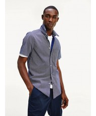 Tommy Hilfiger Micro Dot Short Sleeve Shirt In Navy & White - Style MW0MW12805