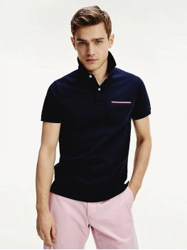 Tommy Hilfiger Signature Chest Pocket Polo In Navy Blue - MWOMW13156 DW5