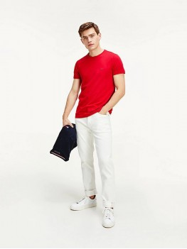 Tommy Hilfiger Stretch Cotton Slim Fit T Shirt In Primary Red -  MW0MW10800 XLG