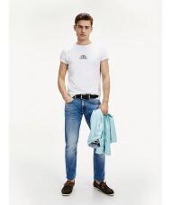 Tommy Hilfiger Organic Cotton Logo T Shirt In White - Style: MW0MW13756