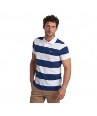 Barbour Harren Stripe Polo Shirt In White & Regal Blue - MML0998BL46