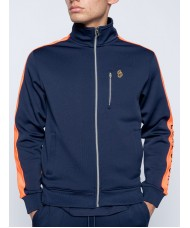 Luke Sport Moremoor Navy & Orange Zip Through Funnel Track Top  - M520354
