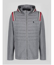 Luke 1977 Antwerp Zip Through Mid Marl Grey Hoody -M520308