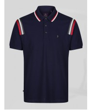 Luke Marseille Navy Polo Shirt With Stripe Detailing - M521403