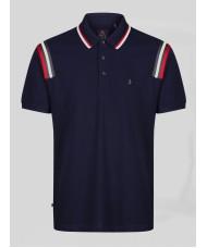 Luke Marseille Navy Polo Shirt With Stripe Detailing - M521403