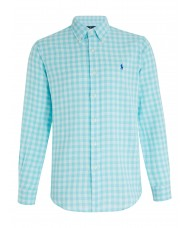 Polo Ralph Lauren Custom Fit Check Shirt In Turquoise & White