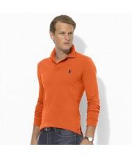 Polo Ralph Lauren Slim Fit Long Sleeve Slim Fit Polo Shirt In Orange