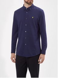 Lyle & Scott Long Sleeve Button Down Pique Shirt In Navy - LW515V