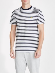 Lyle & Scott Crew Breton Stripe T Shirt - Off White & Navy -  TS508V