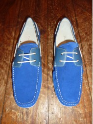 Paolo Vandini Mens Taxon Blue Suede Boat Shoes