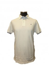 Hackett Pima Cotton Jacquard Polo In White - Tailored Fit - HM560881 800