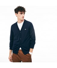 Lacoste Men's Cotton Jersey Cardigan In Navy Blue - AH4564 00 HHW