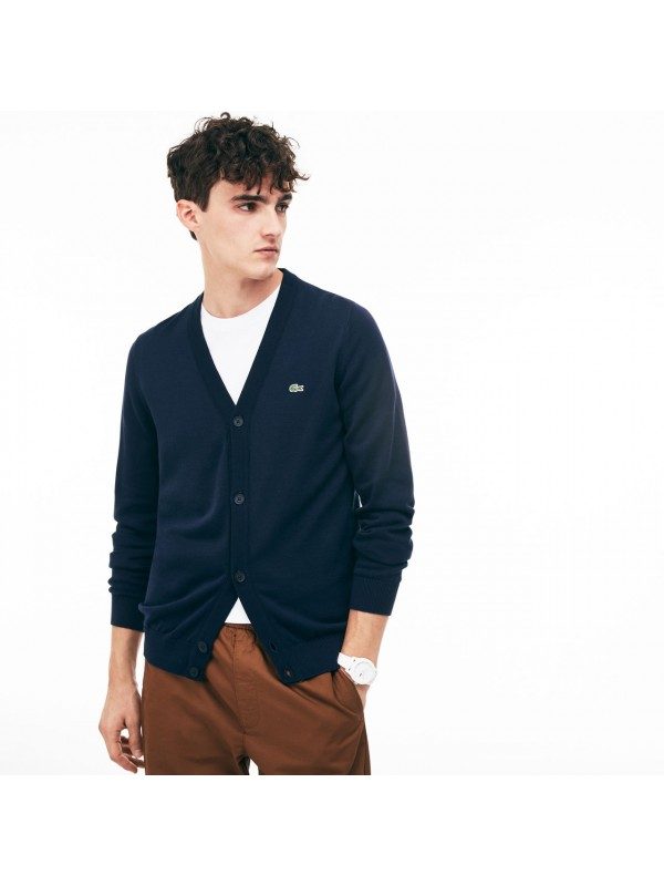 5cbcecffb1 Lacoste Men's Cotton Jersey Cardigan In Navy Blue - AH4564 00 HHW