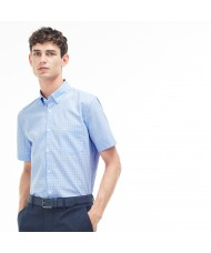 Lacoste Men's Regular Fit Short Sleeve Mini Check Poplin Shirt In Blue & White - CH1178 00 W05