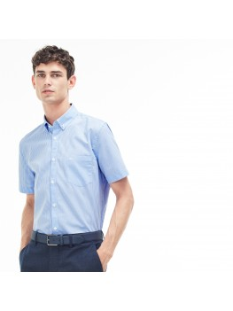 Lacoste Men's Regular Fit Short Sleeve Mini Check Poplin Shirt In Blue & White - CH1178 00 W05