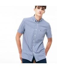Lacoste Men's Regular Fit Short Sleeve Gingham Poplin Shirt In Navy & White - CH9608 00 HFA
