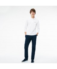 Lacoste classic fit long-sleeve polo in marl petit piqué - White - L1312 00 001