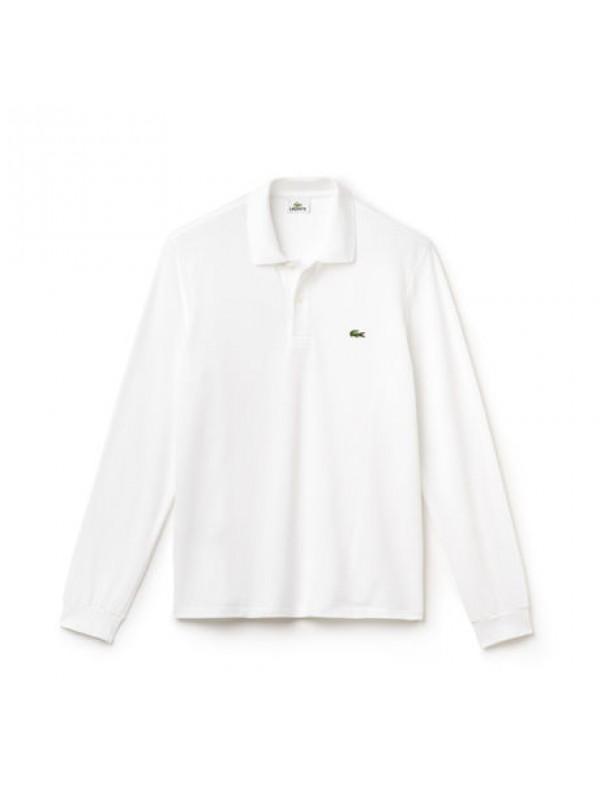de48e699 Lacoste classic fit long-sleeve polo in marl petit piqué - White - L1312 00  001