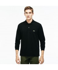 Lacoste classic fit long-sleeve polo in marl petit piqué - Black - L1312 00 031