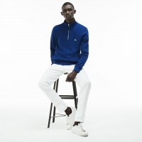 Lacoste Men's Zip Stand-Up Collar Ribbed Interlock Sweatshirt In Blue SH3293-00