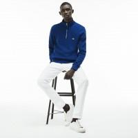 Lacoste Men's Zip Stand-Up Collar Ribbed Interlock Sweatshirt In Blue SH3293-00