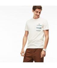 Lacoste Men's Crew Neck Striped Pocket Cotton Jersey T-shirt - White - TH3235 00 MLD