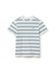 Lacoste Men's Crew Neck Striped Cotton Jersey T-shirt In Blue & White - TH3247 00 MLD