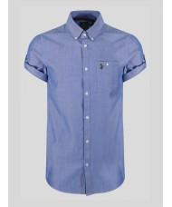"Luke ""Jimmy Travel"" Sky Blue Short Sleeve Shirt With Button Down Collar - ZM370804"