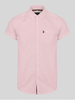 "Luke ""Jimmy Travel"" Pink Short Sleeve Shirt With Button Down Collar - ZM370804"
